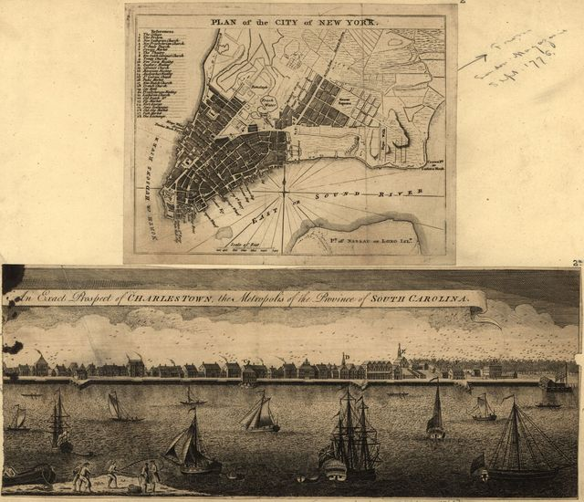Plan of the city of New York ; An exact prospect of Charlestown : the metropolis of the province of South Carolina.
