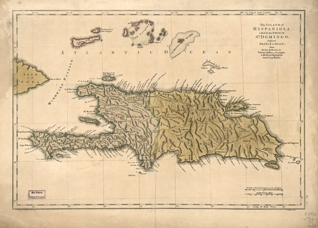 The island of Hispaniola called by the French St. Domingo. Subject to France & Spain.