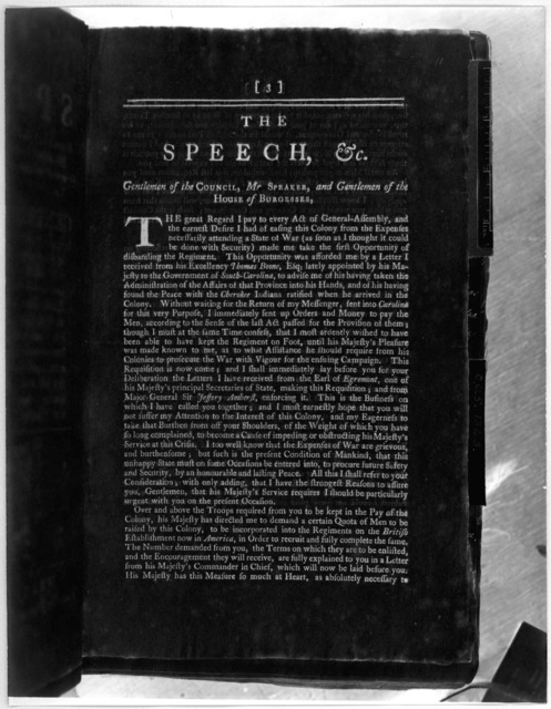 The speech of the Honourable Francis Fauquier, Esquire His Majesty's Lieutenant-Governour, and Commander in chief of the Colony and Dominion of Virginia: To the General Assembly, summoned to be held at the Capitol, in the City of Williamsburg, o