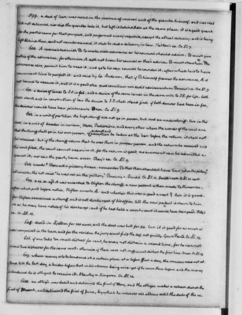 Thomas Jefferson, 1762-1767, Legal Commonplace Book