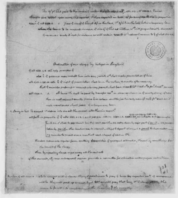 Thomas Jefferson, 1762, Notes on Church Laws