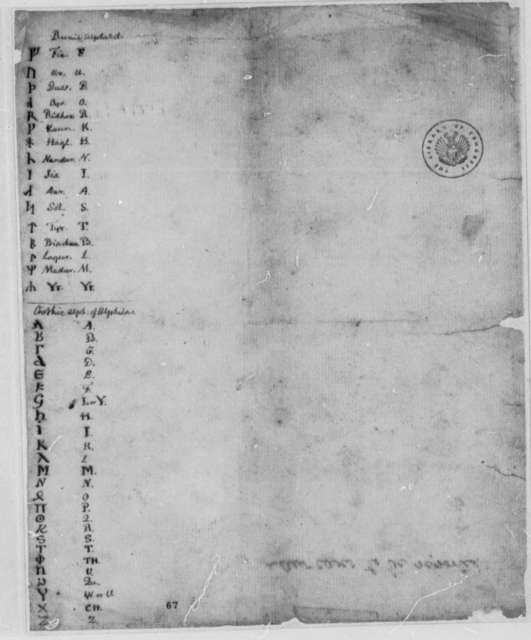 Thomas Jefferson, 1762, Table of Runic and Gothic Alphabets