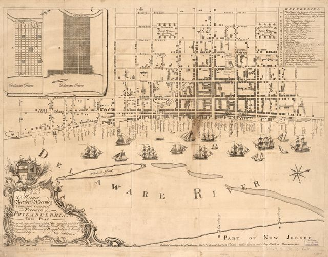 To the mayor, recorder, aldermen, common council, and freemen of Philadelphia this plan of the improved part of the city surveyed and laid down by the late Nicholas Scull,