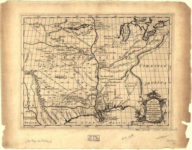 A map of Louisiana, with the course of the Missisipi, and the adjacent rivers, the nations of the natives, the French establishments and the mines; by the author of ye History of that colony. 1757.