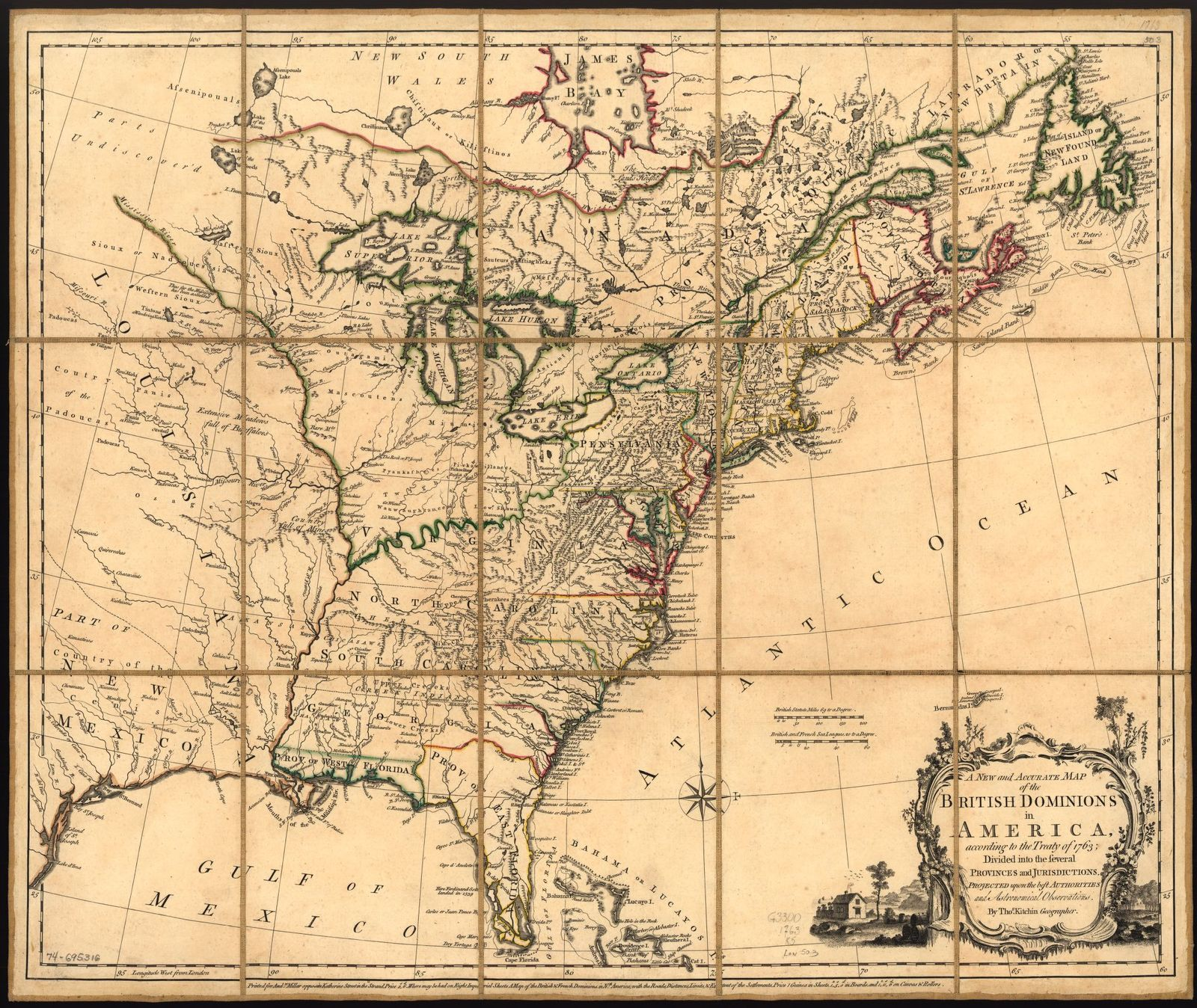 A new and accurate map of the British dominions in America, according to the treaty of 1763; divided into the several provinces and jurisdiction, Projected upon the best authorities and astronomical observations.