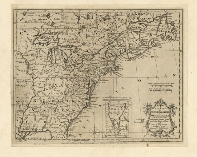 A new map of the British Dominions in North America; with the limits of the governments annexed thereto by the late Treaty of Peace, and settled by Proclamation, October 7th 1763.