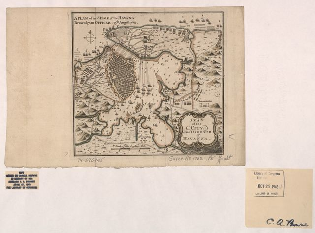 A Plan of the siege of the Havana. Drawn by an officer.15th August 1762., Plan of the city and harbour of Havanna.