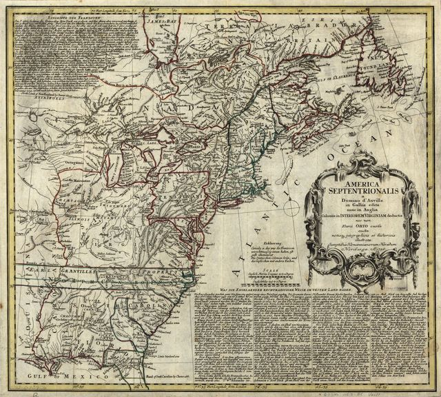 America Septentrionalis a Domini d'Anville in Galliis edita nunc in Anglia. Coloniis in interiorem Virginiam deductis nec non Fluvii Ohio aucta cursu notisque geographicis et historicis illustrata. Ao. 1756.