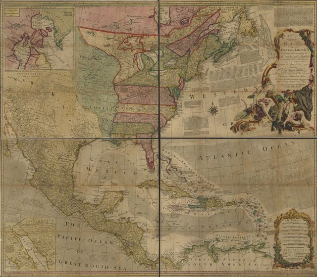 An accurate map of North America. Describing and distinguishing the British, Spanish and French dominions on this great continent; according to the definitive treaty concluded at Paris 10th Feby. 1763. Also all the West India Islands belonging to, and possessed by the several European princes and states. The whole laid down according to the latest and most authentick improvements,