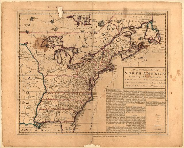 An accurate map of North America describing and distinguishing the British and French dominions on this great continent according to the definitive treaty concluded at Paris 10th February 1763.
