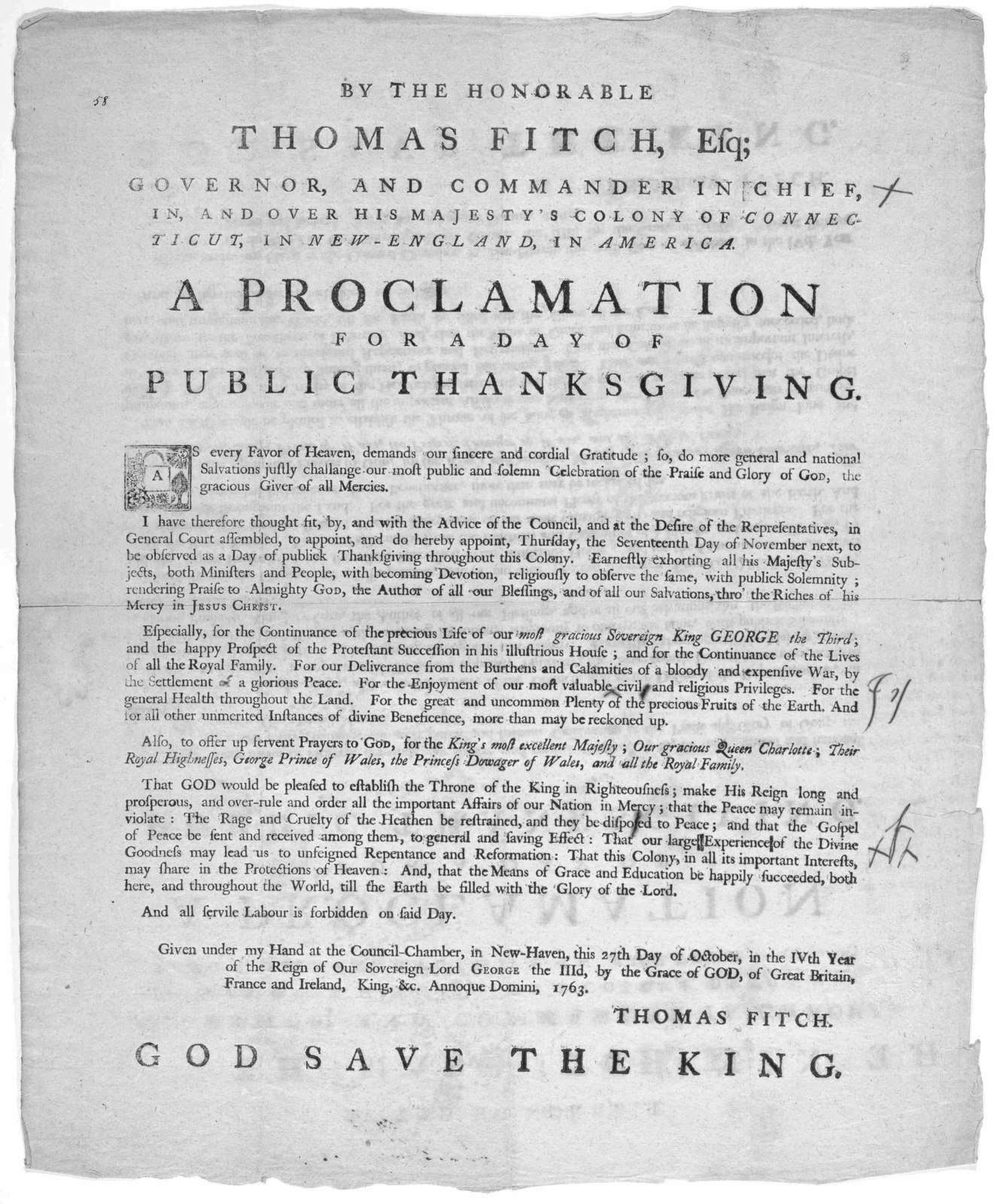 By the Honorable Thomas Fitch, esq; Governor, and commander in chief, in and over His Majesty's Colony of Connecticut, in New-England, in America. A proclamation for a day of public thanksgiving ... Thomas Fitch. God save the king. [New-Haven: P