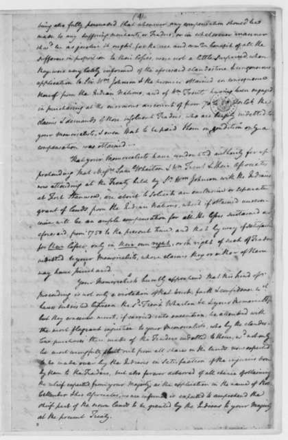 David S. Franks, Benjamin Kendall, et al to Virginia Governor, 1763-82, Memorial Tracing Dispute with French and Indians, with Extract of Letter on Land Grants
