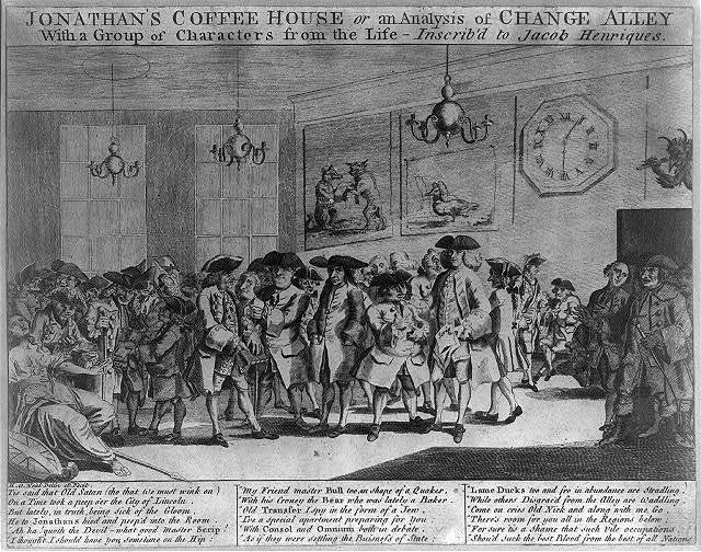 Jonathan's Coffee House or An analysis of change alley with a group of characters from the Life- - -Inscrib'd to Jacob Henriques / H. O. Neal, delin. et fecit.