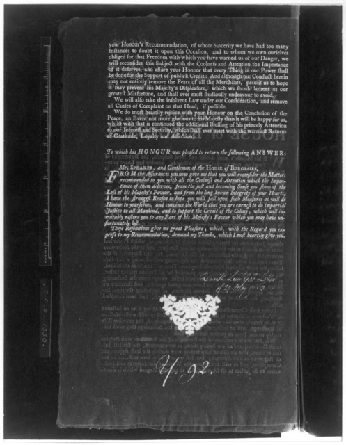May 21, 1763. To the Honourable Francis Fauquier, Esq; His Majesty's Lieutenant-governour, and Commander in chief of the Colony and Dominion of Virginia: The humble address of the House of Burgesses. [Williamsburg: Printed by Joseph Royle, 1763]