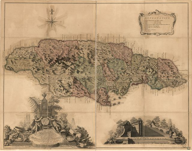 This map of the island of Jamaica;