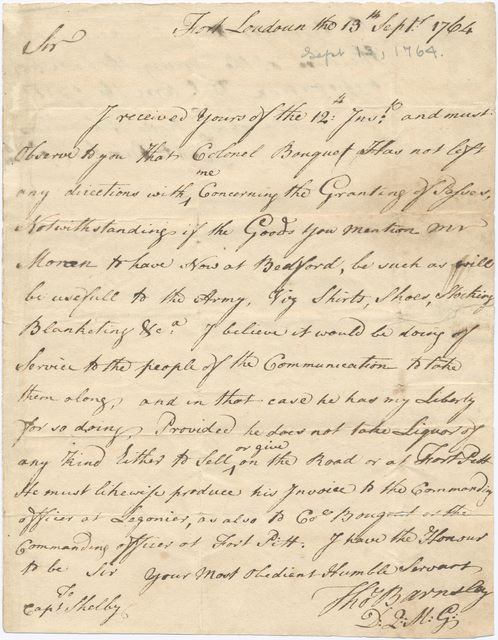 Letter from Thomas Barnsley to Evan Shelby with military passes for Edmund Moran