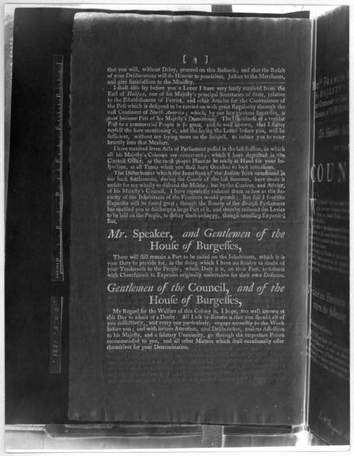 The speech of the Honble Francis Fauquier Esq; his Majesty's Lieutenant-Governor, and Commander in chief of the Colony and Dominion of Virginia: to the General Assembly, summoned to be held at the Capitol, in the City of Williamsburg, on Tuesday
