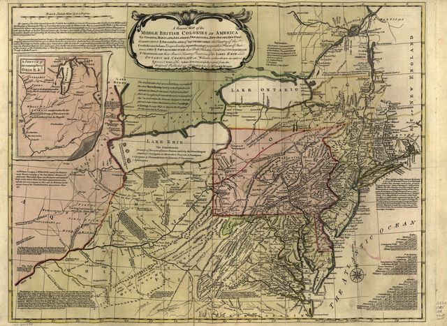 A general map of the middle British colonies in America viz. Virginia, Maryland, Delaware, Pensilvania, New-Jersey, New York, Connecticut & Rhode-Island: Of Aquanishuonigy the country of the confederate Indians comprehending Aquanishuonigy proper, their places of residence, Ohio & Thuchsochruntie their deer hunting countries, Couchsachrage & Skaniadarade their beaver hunting countries, of the Lakes Erie, Ontario and Champlain. Wherein is also shewn the antient & present seats of the Indian nations; carefully copied from the original published at Philadelphia,