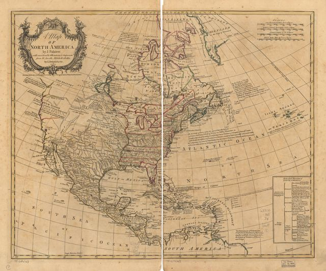A map of North America,