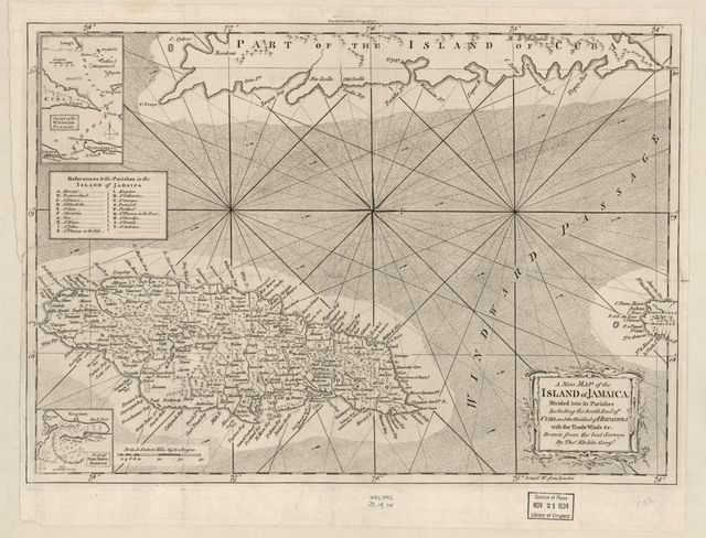 A new map of the island of Jamaica divided into its parishes : including the south end of Cuba and the west end of Hispaniola with the trade winds &c. /