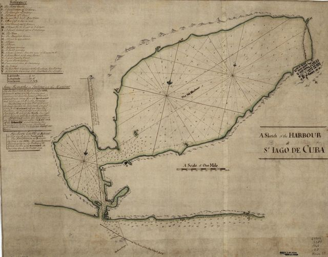 A Sketch of the harbour of St. Iago de Cuba.