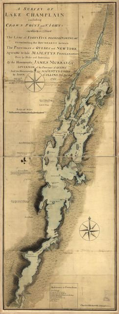 A survey of Lake Champlain including Crown Point and St. Iohn's on which is fixed the line of forty five degrees north lattit. terminating the boundarys betwe[e]n the provinces of Quebec and New York agre[e]able to his Majesty's proclamation done by order and instruction of the Honourable James Murray, esqr., Governor of the Province of Quebec and the Honourable His Majestys Council