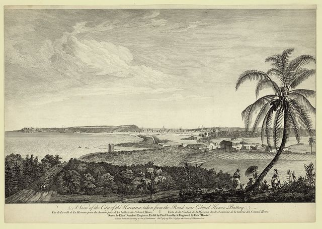 A view of the city of the Havana, taken from the road near Colonel Howe's battery Vue de la ville de la Havane prise du chemin pres de la batterie du Colonel Howe = Vista de la Ciudad de la Havana desde el camino de la bateria del Coronel Howe / / drawn by Elias Durnford Engineer ; etch'd by Paul Sandby ; engraved by Edw'd Rooker.