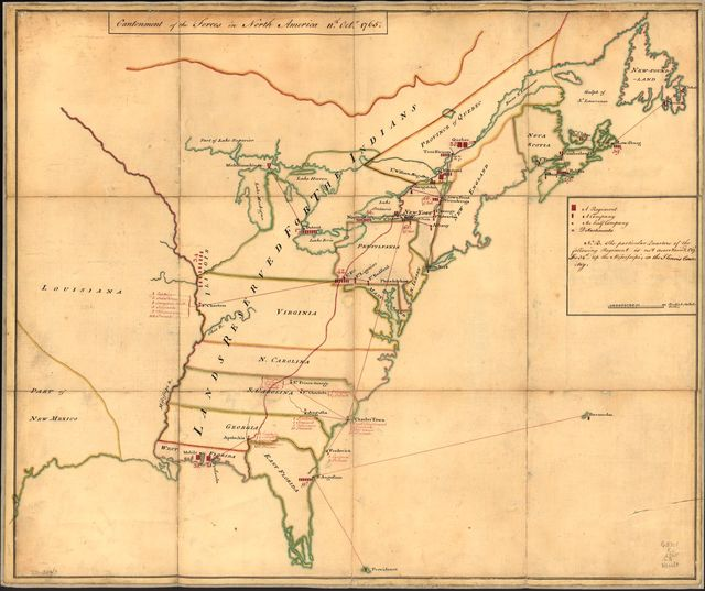 Cantonment of the forces in North America 11th. Octr. 1765.