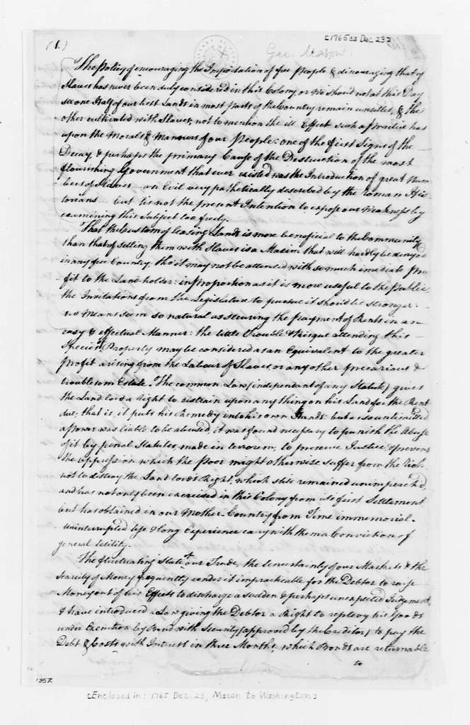 George Washington Papers, Series 4, General Correspondence: George Mason to George Washington and George William Fairfax, December 23, 1765, with Plan