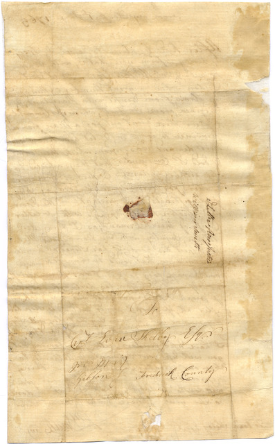 Letter from William Smith to Evan Shelby, Frederick County, [Maryland]