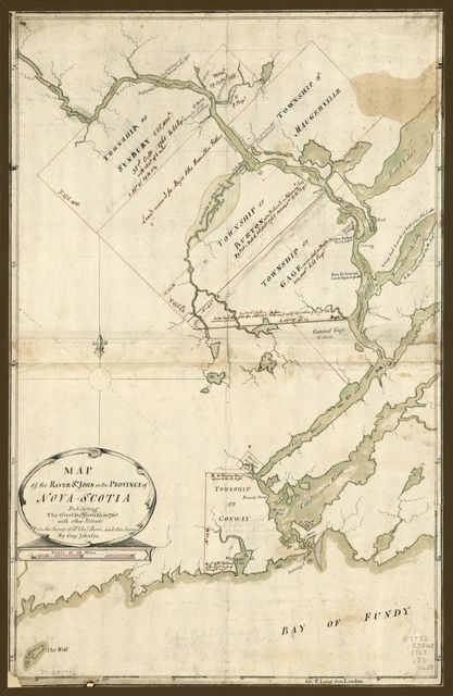 Map of the River St. John in the Province of Nova Scotia, exhibiting the grant to officers &c. in 1765, with other patents.