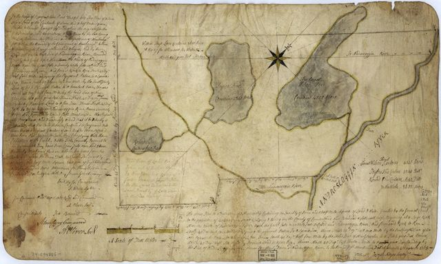 The above plan is a discription of a new township containing the quantity of seven and a half mile of land & water, granted by the General Court to the proprietors of Bakerstown so call'd, lying & being in the county of Cumberland ... Deld. at Falmouth, 4th September 1765.