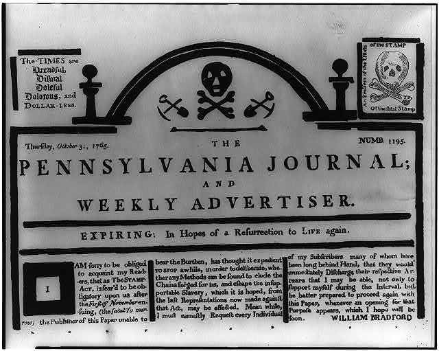 The Pennsylvania journal and weekly advertiser - expiring: in hopes of a resurrection to life again / William Bradford.