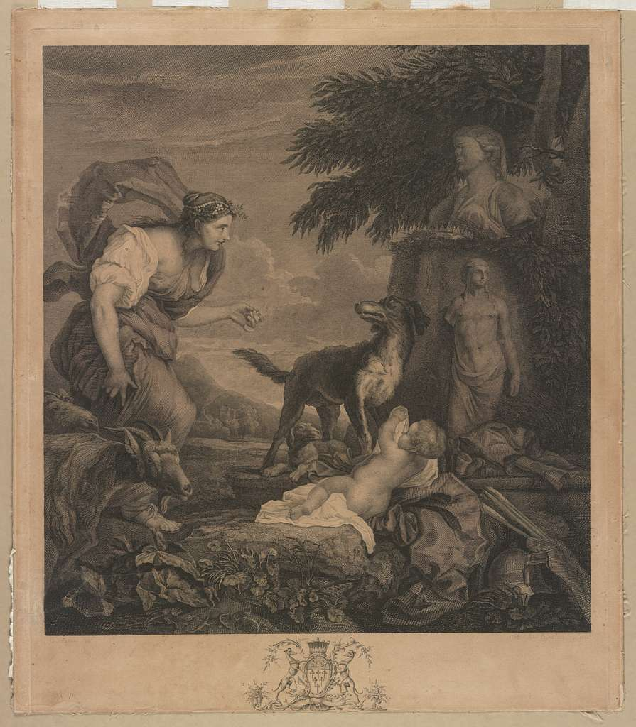 Woman with dogs, infant, and goats in the wilderness