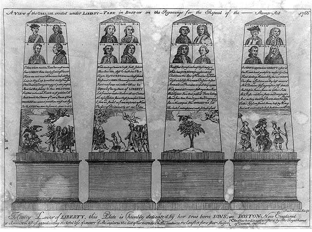 A view of the obelisk erected under Liberty-tree in Boston on the rejoicings for the repeal of the ---- Stamp Act 1766. / Paul Revere, sculp.