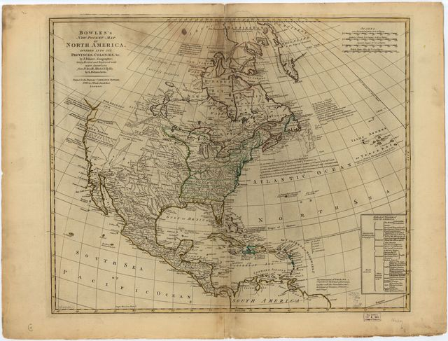 Bowles's new pocket map of North America,