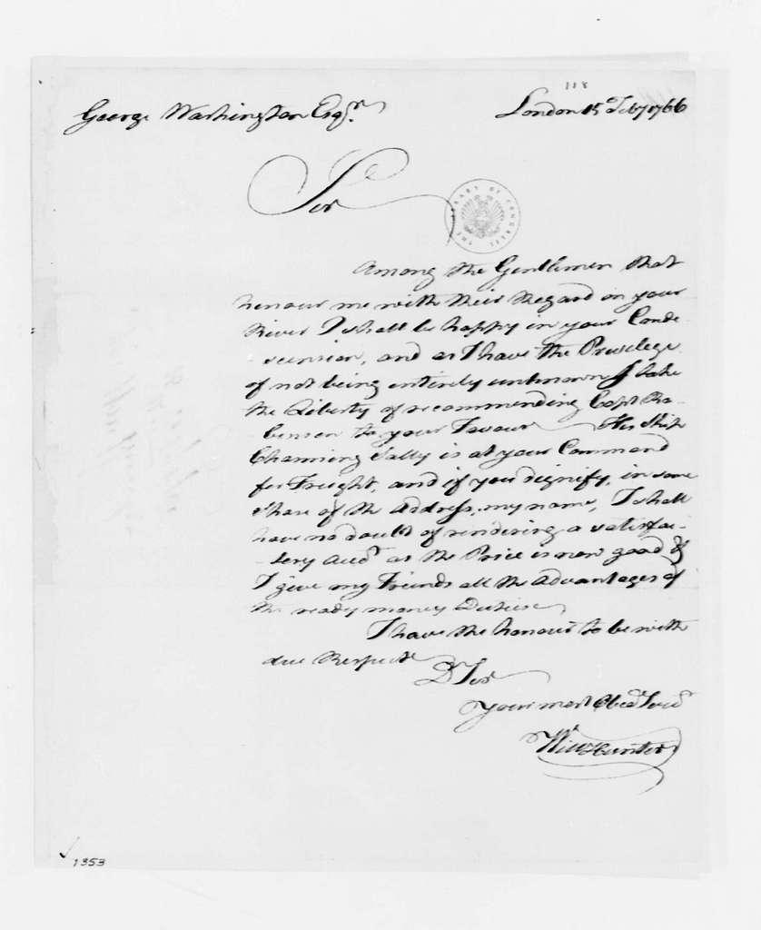 George Washington Papers, Series 4, General Correspondence: William Hunter to George Washington, February 15, 1766