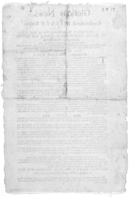 Glorious News. Constitutional liberty revives! New-Haven, Monday-morning, May 19, 1766 Mr. Jonathan Lowder brought the following most agreeable intelligence from Boston [Regarding repeal of the stamp-act] .... New-Haven: Printed by B. Mecom, for