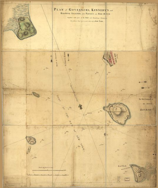 Plan of Governor's, Kennedy's, and Brown's Islands, with Paulus and Red Hook together with part of the bay and soundings shewing the position they bear to each ether [sic] and to New York.