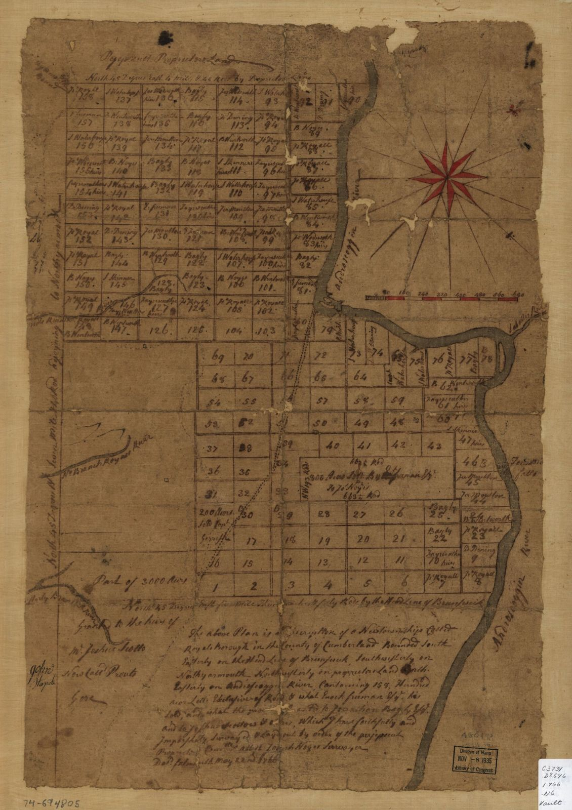 The above plan is a discription of a new township called Royalsborough in the county of Cumberland, bounded southeasterly on the headline of Brunswick, southwesterly on Northyarmouth, northwesterly on proprietors land, northeasterly on Androscoggin River ...