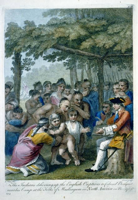 The Indians delivering up the English captives to Colonel Bouquet near his camp at the forks of Muskingum in North America in Novr. 1764 / B. West invt. ; Canot sculp.
