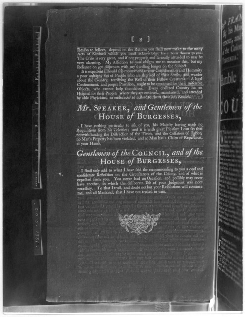 The speech of the Honble Francis Fauquier, Esq; his Majesty's Lieutenant Governour, and commander in chief of the Colony and Dominion of Virginia: To the General Assembly, summoned to be held at the Capitol, in the City of Williamsburg on Thursd
