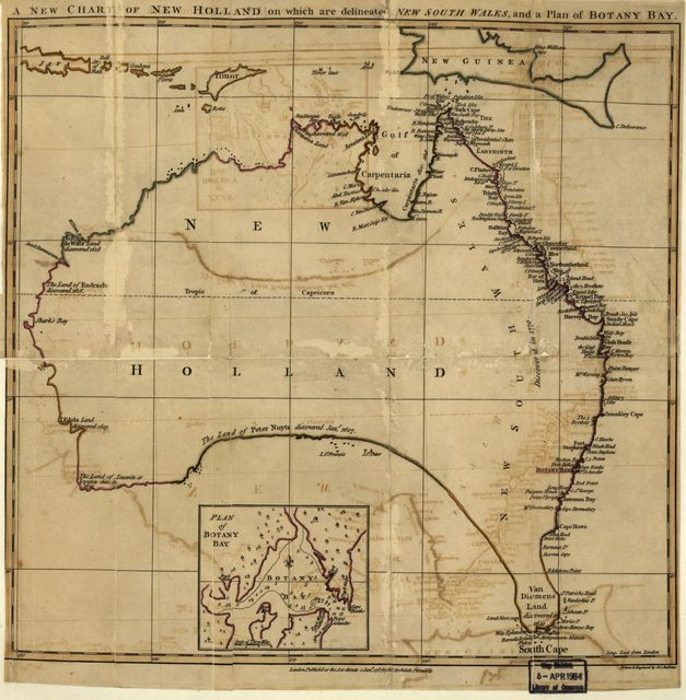 A new chart of New Holland on which are delineated New South Wale, and a plan for Botany Bay.