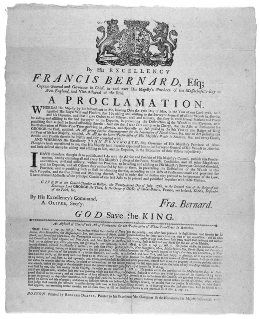 By His Excellency Francis Bernard, Esq; captain general and Governor in chief, in and over His Majesty's province of the Massachusetts-Bay in New-England, and vice-admiral of the same A proclamation [regarding the prevention of the woods] Given