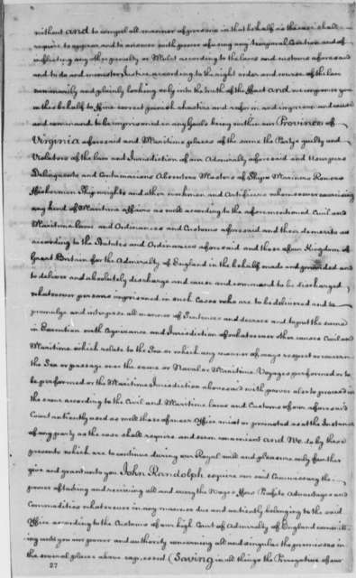 George III of England to John Randolph, April 2, 1767, Admiralty Appointment