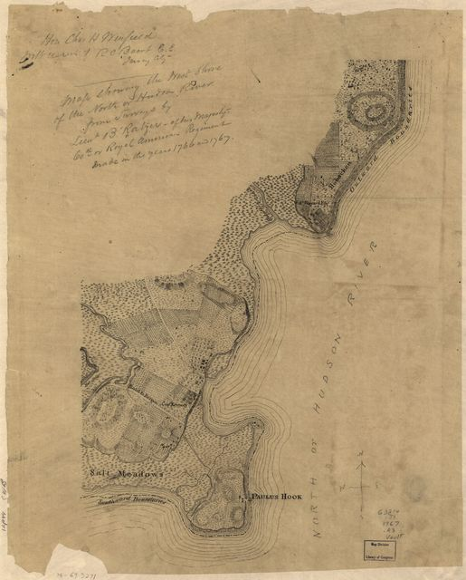 Map showing the west shore of the North or Hudson River,