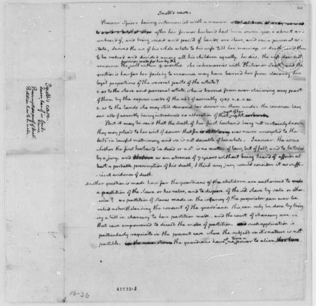 Thomas Jefferson, 1767-73, Opinion on Mrs. Philemon Snell Law Case Regarding Rawser Spicer Estate