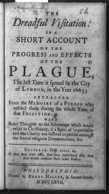 [Title page of The dreadful visitation in a short account of the progress and effects of the plague]