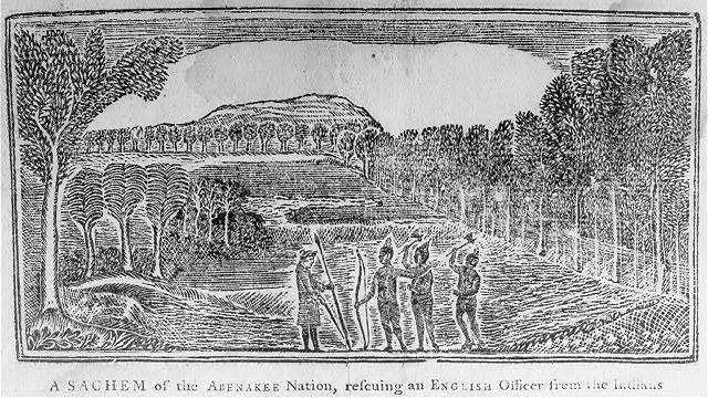 A sachem of the Abenakee Nation rescuing an English officer from the Indians