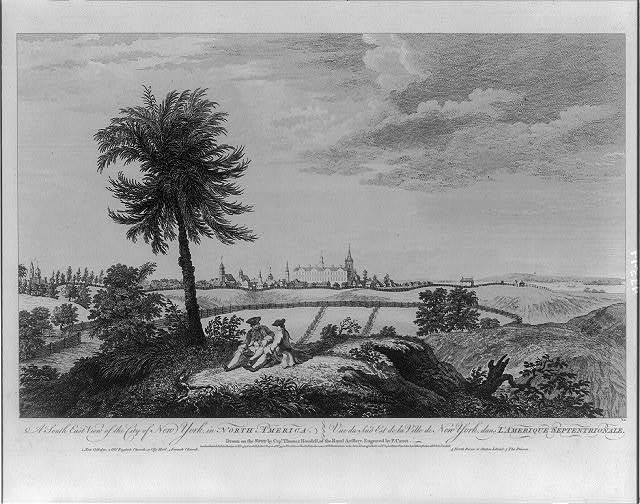 A south east view of the city of New York, in North America Vue de sud est de la ville de New York, dans l'Amerique Septentrionale / / drawn on the spot by Thomas Howdell, of the Royal Artillery ; engraved by P. Canot.
